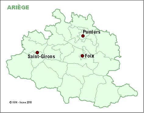 carte des cantons du département de l'Ariège